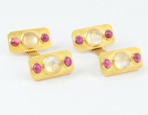 Vintage Solid 18Ct Gold, Moonstone And Ruby Mesh Snap Cufflinks By Meister